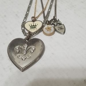 Early 2000s juicy couture layered charm necklac